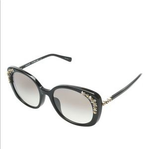 COACH black cat eye sunglasses with floral gems
